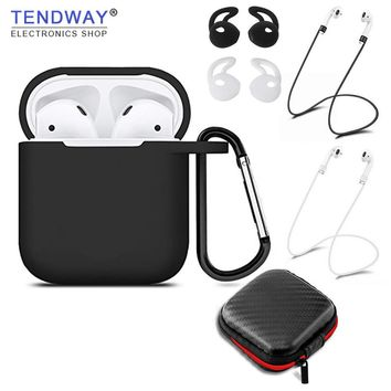 Tendway 6 pcs/set Silicone Case for Apple AirPods Accessories for Apple Earphones Silicone Strap Cover Tip Hook for Airpods