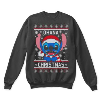 ESB8HB Ohana Means Family Christmas Santa Stitch Ugly Sweater