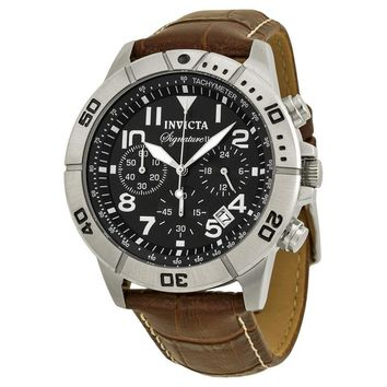 Invicta Signature II Chronograph Brown Leather Mens Watch 7281