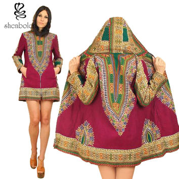 Fashion hoodies jacket Africa long sleeve printed lady dashiki wind coat women traditional classic batik prining cotton coat