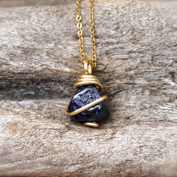 Raw Sapphire Necklace - Bohemian Jewelry - Rough Stone Necklace - Raw Stone Jewelry - Wire Wrapped Necklace - Gypsy Jewelry - Wiccan Pendant