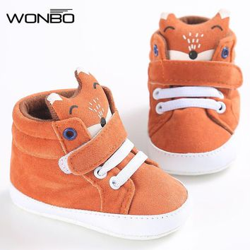 Fashion Online Winter Baby Shoes Cotton Cloth Kids Girl Boys Fox High Help First Walker Canvas Sneaker Anti-slip Soft Sole Toddler Footwear