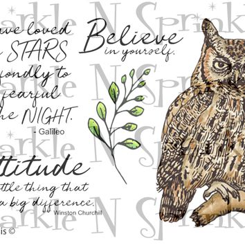 Great Horned Owl Rubber Stamp Set [00-912P5]
