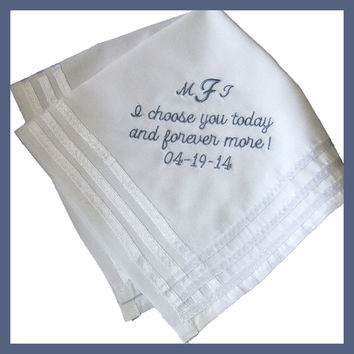 Hankie for Groom from His Bride on Etsy from Couture Wedding Hankie. Created in soft cotton.
