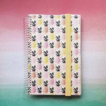 Bullet Journal Notebook with double sided pocket. Dot grid paper. Blank Paper. Spiral bound notebook.