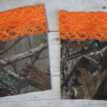 Realtree Camo AP with Hunter's Orange Lace Trim Boot Cuffs Toppers Leg Warmers Camouflauge Wedding Bridesmaid Bridal Party Dress Hunting Elk