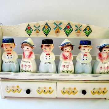 Spice Rack With Shakers Dutch Boy And Girl Vintage Spice Holder Country Kitchen