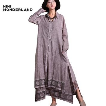 NINI WONDERLAND 2018 spring turn-down collar trench coats do old Cotton linen long outwear Women clothing plus size cardigan
