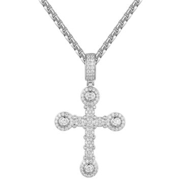 Silver Iced Out Designer Cross Pendant Chain