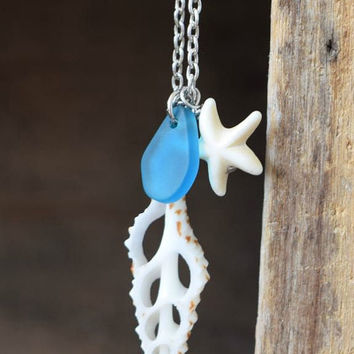 Hawaiian Sliced Shell, Starfish & Blue Sea Glass Necklace / Beach Necklace