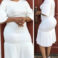 New White Pleated Bodycon Elegant Church Party Maxi Dress