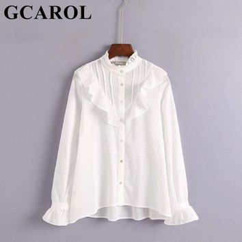 GCAROL 2018 New Collection Stand Collar Ruffles Women White Blouse OL Asymmetric Gauze Shirt Sweet Vintage Tops For 4 Season