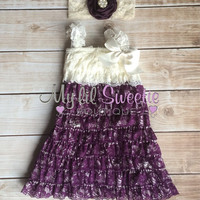 2pc Plum / Eggplant dark purple and ivory  Vintage Lace dress and headband ot clip- newborn outfit- infant outfit- flower girl- wedding