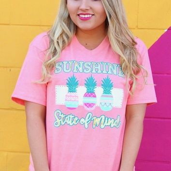 Jadelynn Brooke: Sunshine State of Mind S/L V-neck Tee {H. Coral}