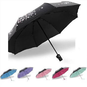 Fully-automatic Rain/ Sun Umbrella With Cherry Blossom Pattern,3 Folding Thickening Fashion Abstract Art Design For Women