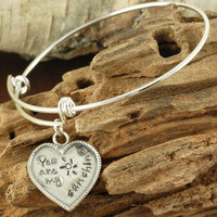 You Are My Sunshine Silver Birthstone Bangle - Charm Bracelet - Alex and Ani Inspired-1