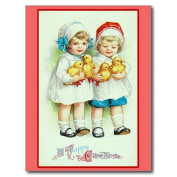 Girls and Baby Chicks Vintage Easter Cards