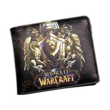 Newest The World of Warcraft Wallets Leather Slim Small Wallet WOW Alliance Horde Flag Purse Cool Movie Game Wallet For Men