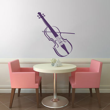Violin Instrument Vinyl Decal Wall Sticker Art Design Kitchen Cafe Room Nice Picture Bedroom Home Decor Hall ki195