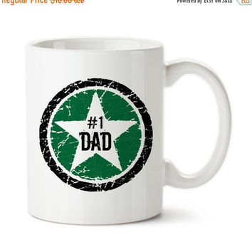Green Black Rock Star #1 Dad, Number 1 Dad, Best Dad, Awesome Dad, Father's Day, Birthday Gift For Dad, Coffee Mug, Coffee Cup