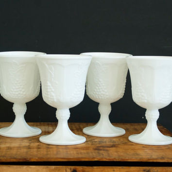 SALE- Vintage Indiana Colony Harvest Milk Glass Goblets, Grape Pattern Wine Glasses, White Glass Cup Set, Holiday Tablescapes