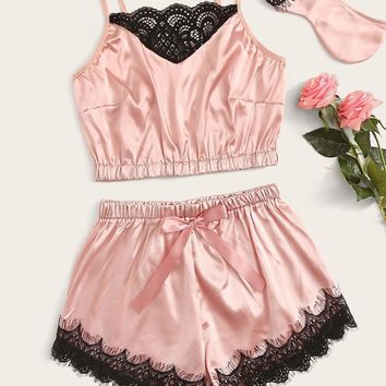 Floral Lace Satin Cami With Shorts & Eye Mask