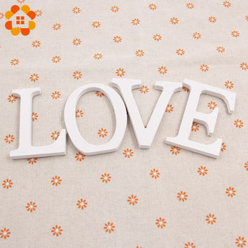 1pc Standing A-Z White Wooden Letters Artificial Cards For Wedding/Christmas Party Decoration