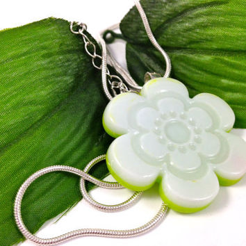 Fused Glass Pendant Necklace Sap Green and White Flower Power 194