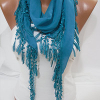 Turquoise blue Cotton Shawl Scarf  Headband  Cowl with by DIDUCI