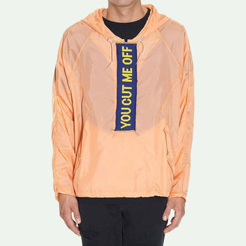 """""""You Cut Me Off"""" Salmon Anorak by OFF-WHITE"""