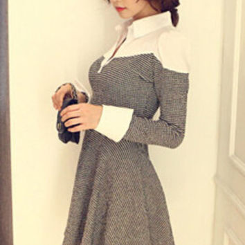 Autumn Korean New Arrival Split Joint Lapel Puff Sleeve Dress Ruffle Pullover Pure Color Plaid Pattern Dress M-L