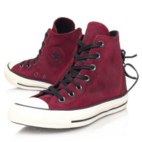 Converse Burgundy Suede Tri Zip Chuck Taylor Hi-Top Trainers | Women's Shoes | Liberty.co.uk