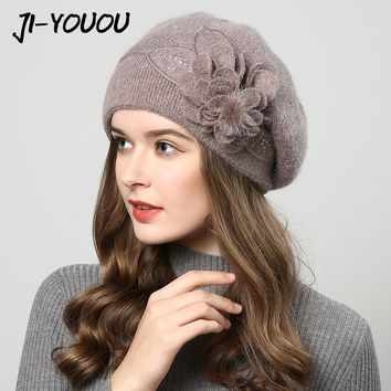 2017 winter hats for women hat Berets with  balaclava Women's cap  gorros rabbit fur hats for women's knitted beanie beanies