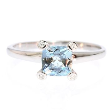 14K White Gold Square Cushion Cut Aquamarine and Diamond Ring