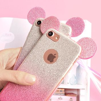 3D Minnie Mickey Mouse Ears Case for Samsung Galaxy S8 S7 Edge S5 A5 J5 2016 J7 2017 Case For iPhone 6 Case 6 7 Plus 5 5S Cover