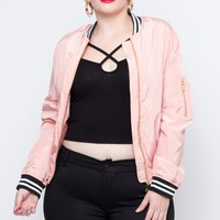 Plus Size Satin Baseball Bomber Jacket - Blush