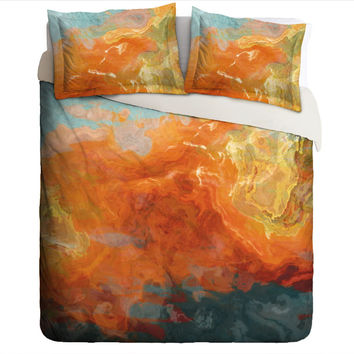 Duvet Cover with abstract art, king or queen in orange, yellow and teal, Electric
