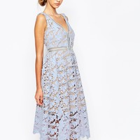 Self Portrait Off Shoulder Heavy Lace Midi Prom Dress