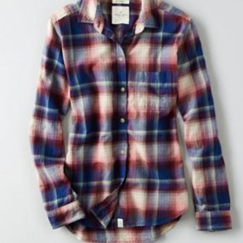 AEO Canyon Boyfriend Flannel , Teal | American Eagle Outfitters