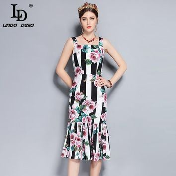 bebe86efc7c LD LINDA DELLA 2018 New Runway Summer Dress Women s Spaghetti St