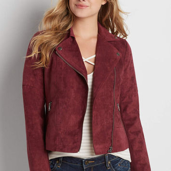 faux suede moto jacket in burgundy | maurices