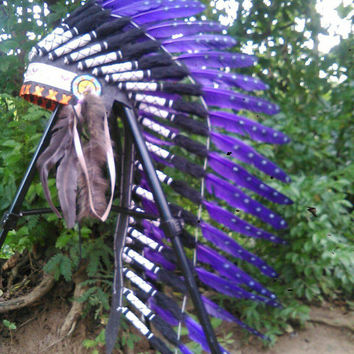 TOTAL SALE Purple Medium Length Native American Headdress, Warbonnet, Indian Headdress, Indian Costume, Rave Headdress, Burning man, edC