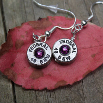 bullet earrings, 40 caliber brass nickel (silver) bullet dangle earrings, with purple swarovski crystals, bullet jewelry