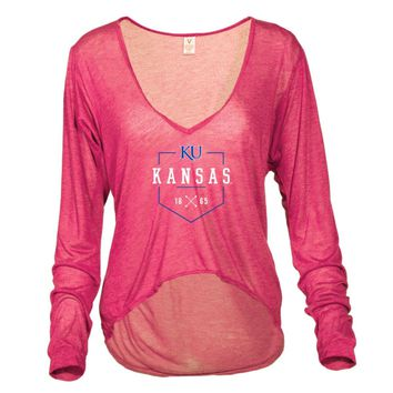 Official NCAA University of Kansas Fighting Jayhawks KU ROCK CHALK! Women's V neck T-Shirt