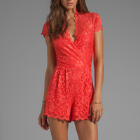 Dolce Vita Clarita Victorian Lace Romper Dress in Coral from REVOLVEclothing.com