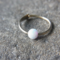 White Opal hoop for Cartilage / Nose / Tragus