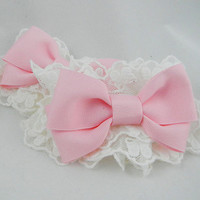 Delicate Lolita Wrist Cuffs In White With Pink Bows