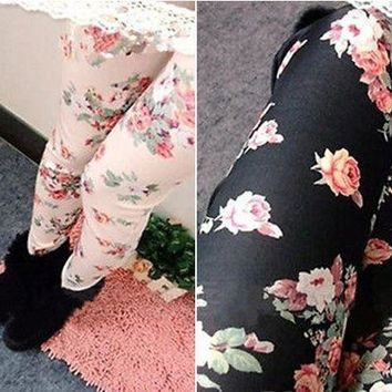 Womens Cute Floral Print Lovely Stretch Leggings