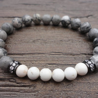Scenery Jasper Gemstone, White Turquoise, and Cubic Zirconia/Stacking Beaded Bracelet/Gray/ White/Fancy Boho