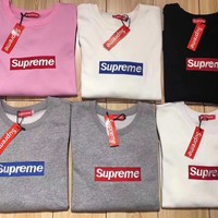 supreme casual long sleeve pullover sweatshirt top sweater
